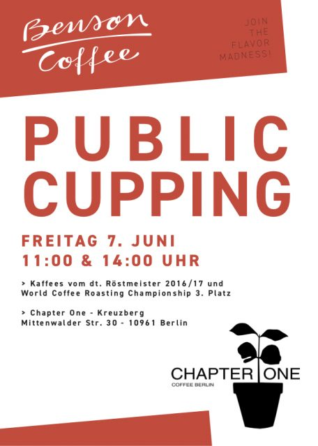 Benson Coffee Public Cupping 7. Juni, Chapter One Berlin